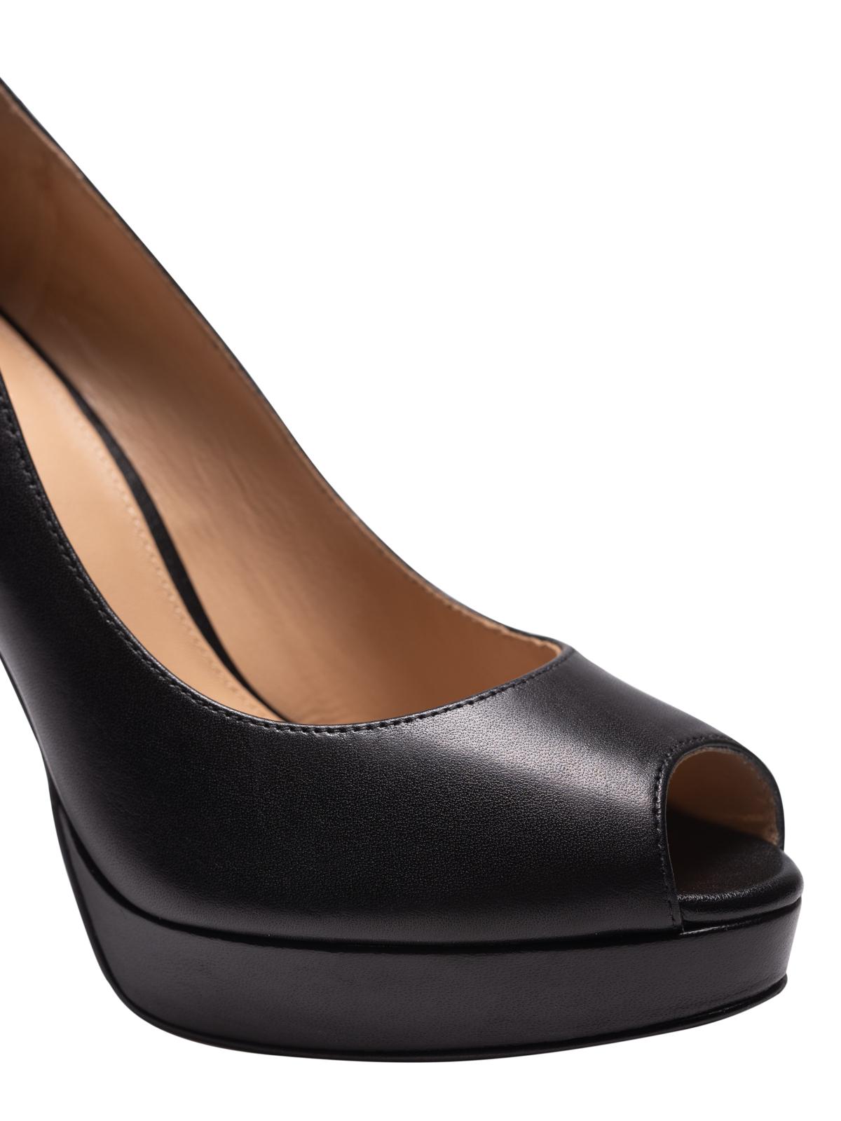 leather peep toe platform pumps