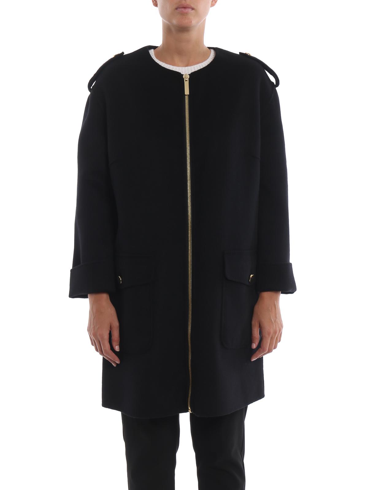 purchase cheap 9f00a dff43 Michael Kors - Cappotto senza collo nero con zip dorata ...