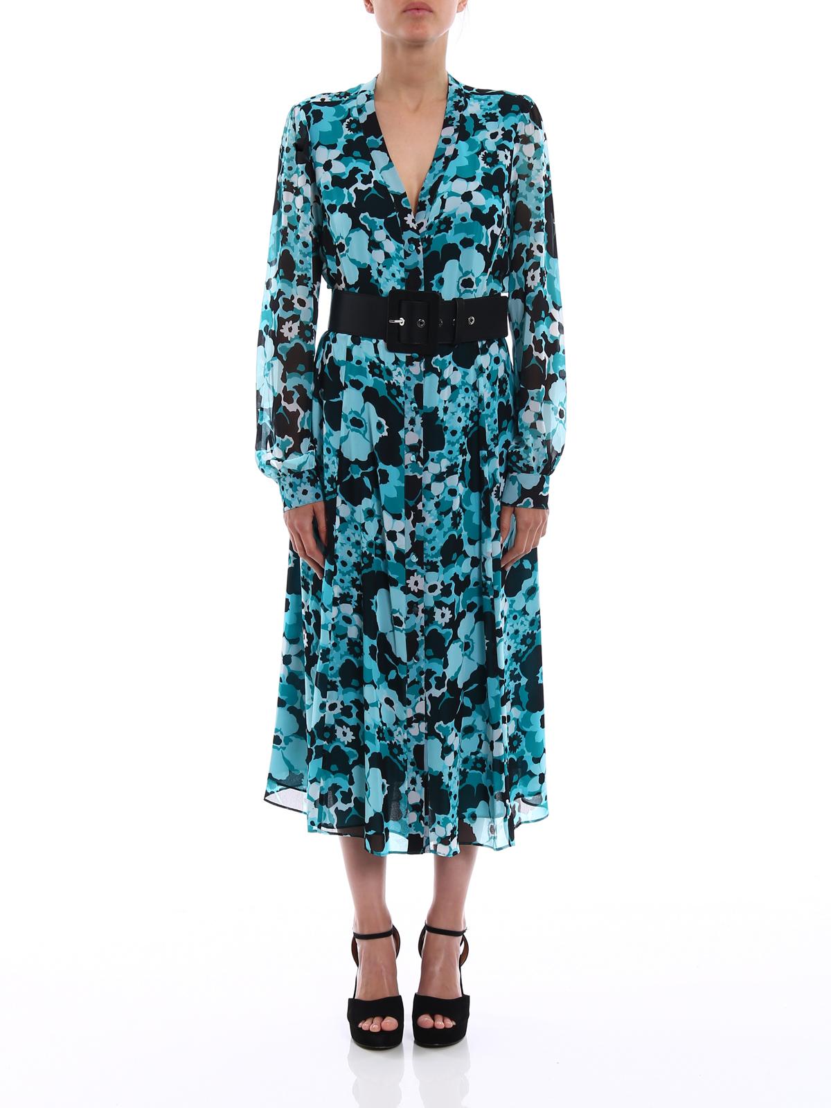 f964617a3fe Michael Kors - Floral printed chiffon shirt dress - maxi dresses ...