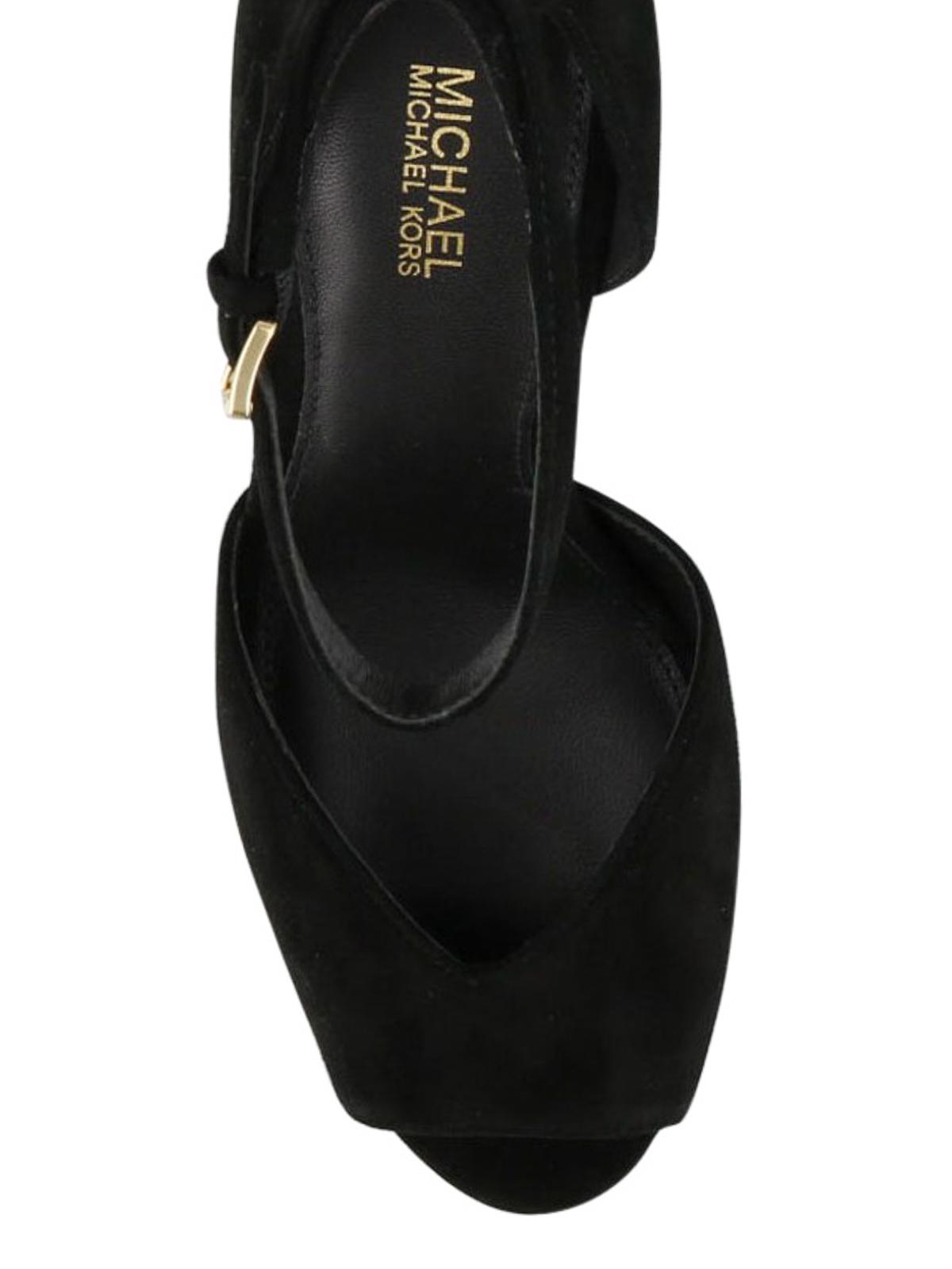 Cambria black suede peep toe sandals
