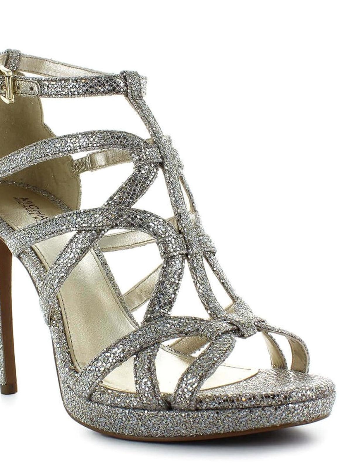 Michael Kors Sandra cage design glitter heeled sandals