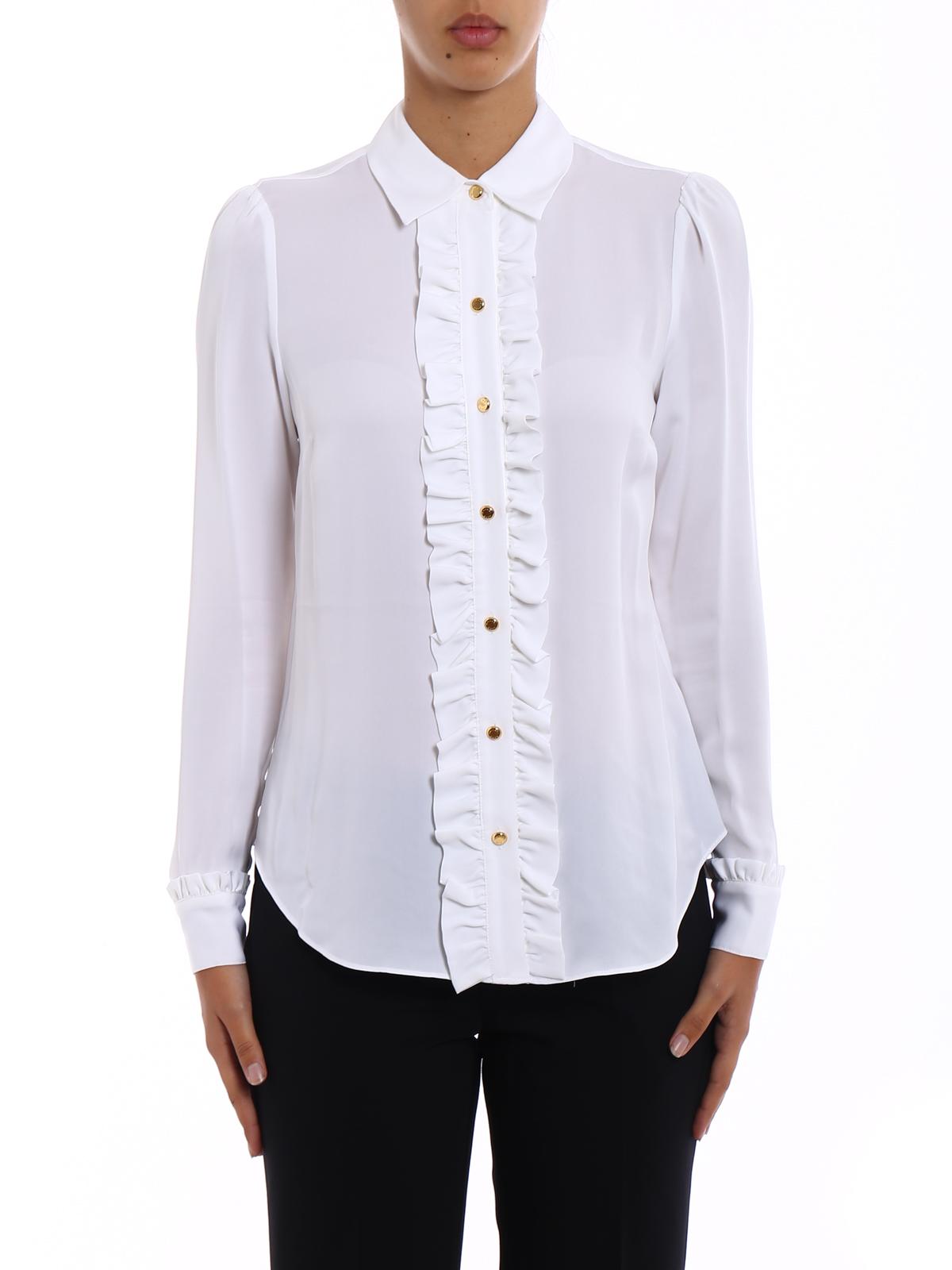 e52c3c4146b5a0 iKRIX MICHAEL KORS: camicie - Camicia in seta bianca con ruches
