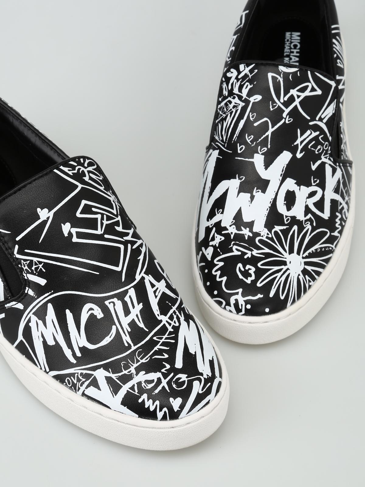 a748196dd105d iKRIX MICHAEL KORS  trainers - Keaton Graffiti printed leather slip-ons