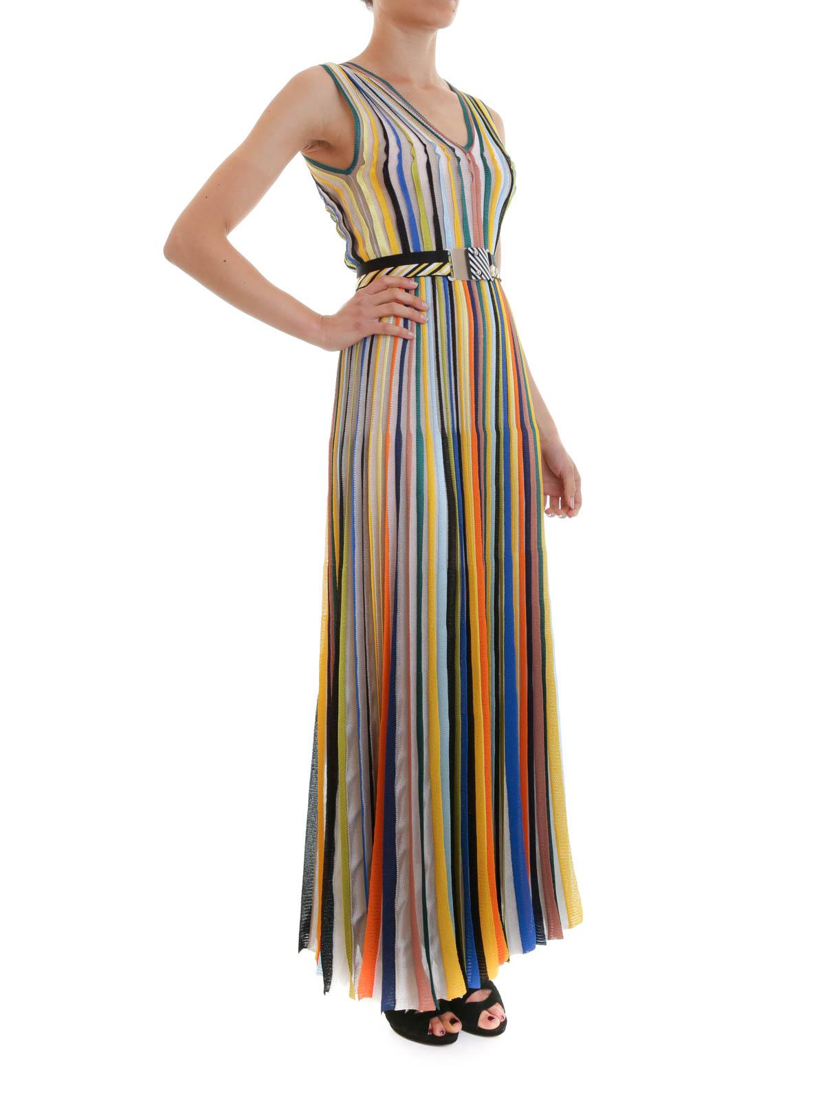 iKRIX Missoni: maxi dresses - Belted striped maxi dress