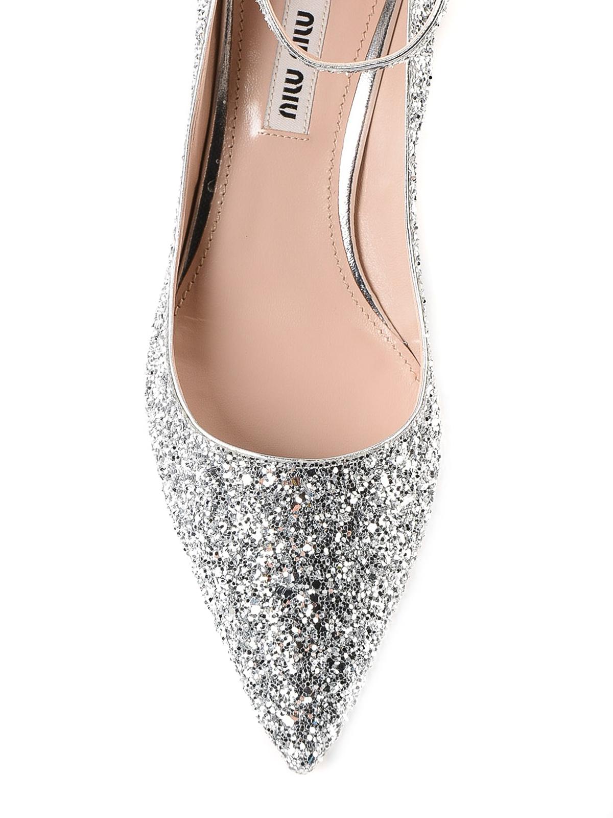 Miu Miu - Silver glitter ankle strap