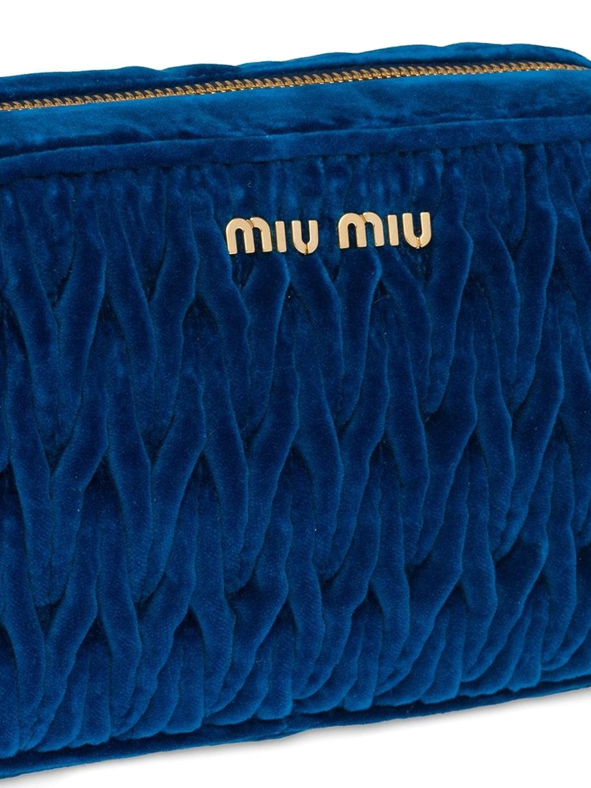 iKRIX MIU MIU  cross body bags - Blue matelassé velvet camera bag 03529a25e7e6b