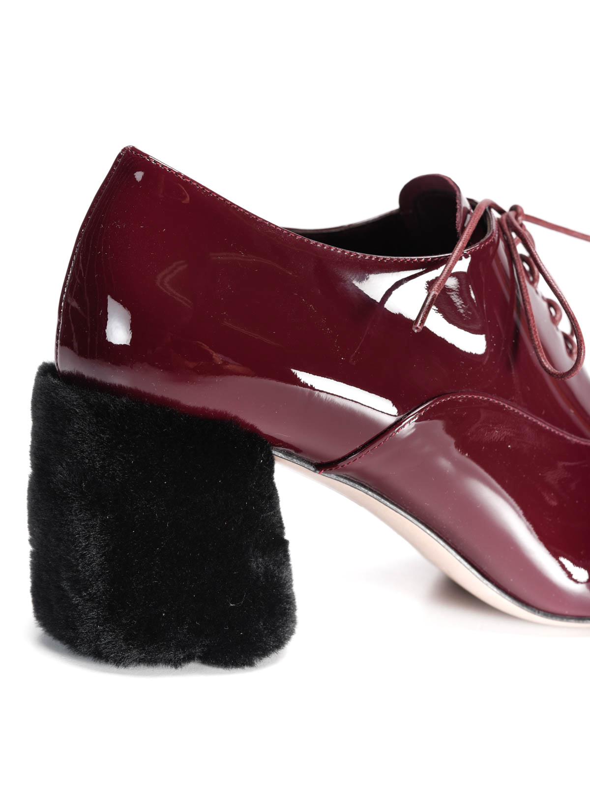 45ef98c8be9 Miu Miu - Fur detailed patent leather shoes - lace-ups shoes ...