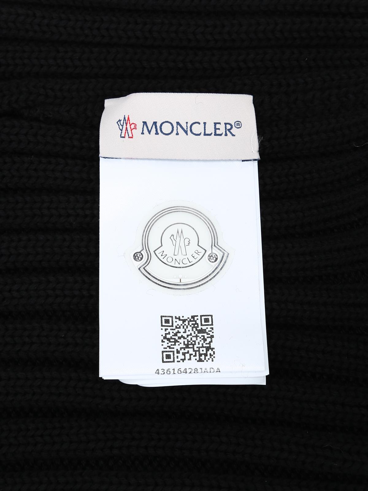 76025f8206679 Moncler - Fur pompom black ribbed wool beanie - beanies - D2 093 ...