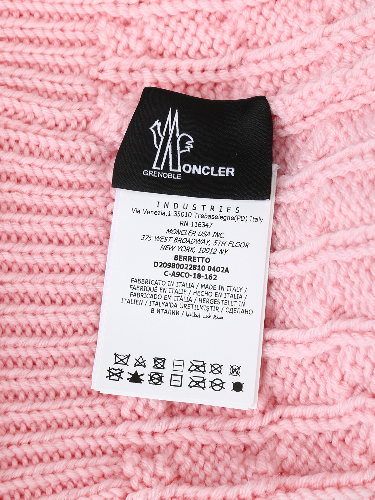 best website 93585 a147d Moncler Grenoble - Fur pompom pink cable knit wool beanie ...