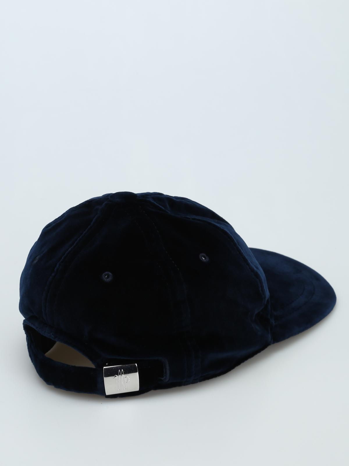 2f0a7605c51 Moncler - Blue velvet baseball cap - hats   caps - D2 093 0039700 ...