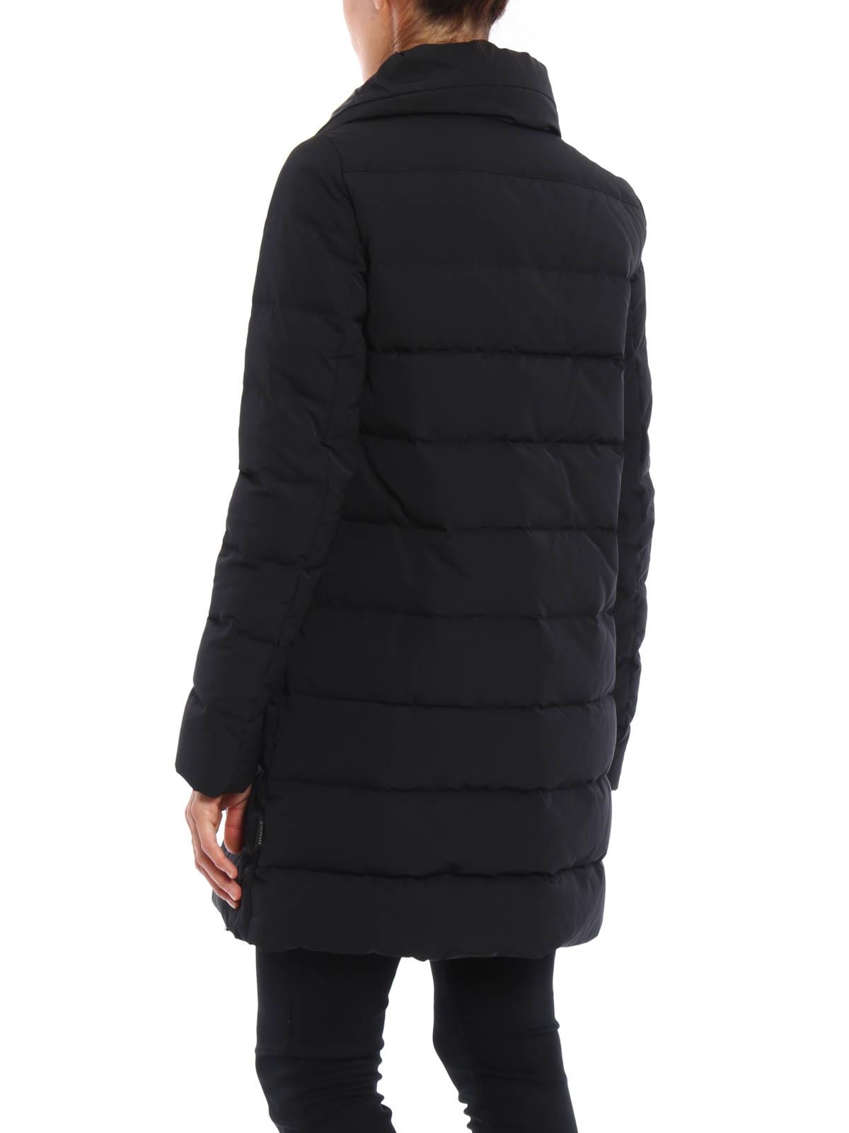 moncler black quilted coat