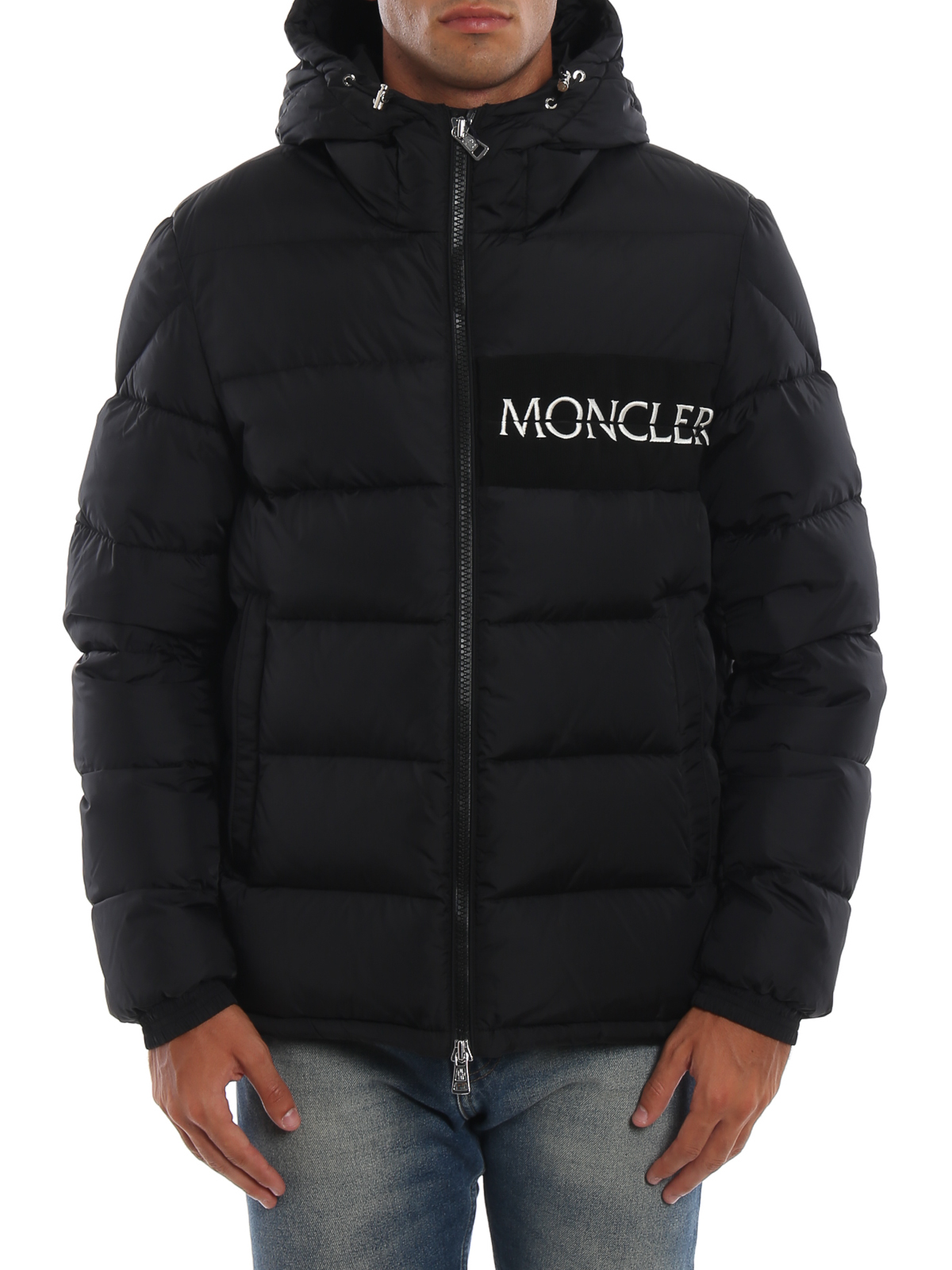 a82c3a74b6ae Moncler - Aiton embroidered logo black puffer jacket - padded ...