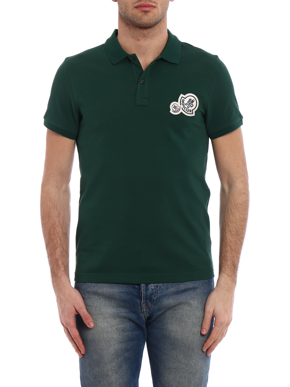 iKRIX MONCLER: polo shirts - Logo chest patch green polo shirt
