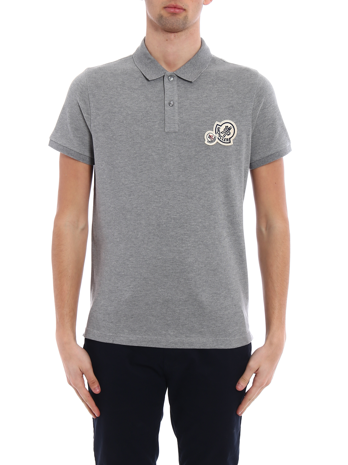 3ae96837e online here b54a6 01aa3 moncler polo shirts online logo patch grey ...