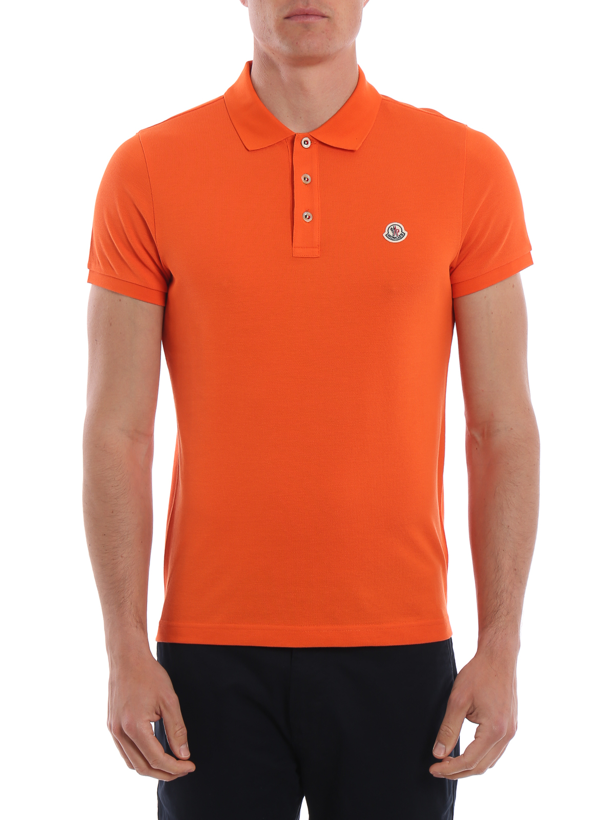 2f0dde979b21 Moncler - Orange cotton pique polo shirt - polo shirts ...