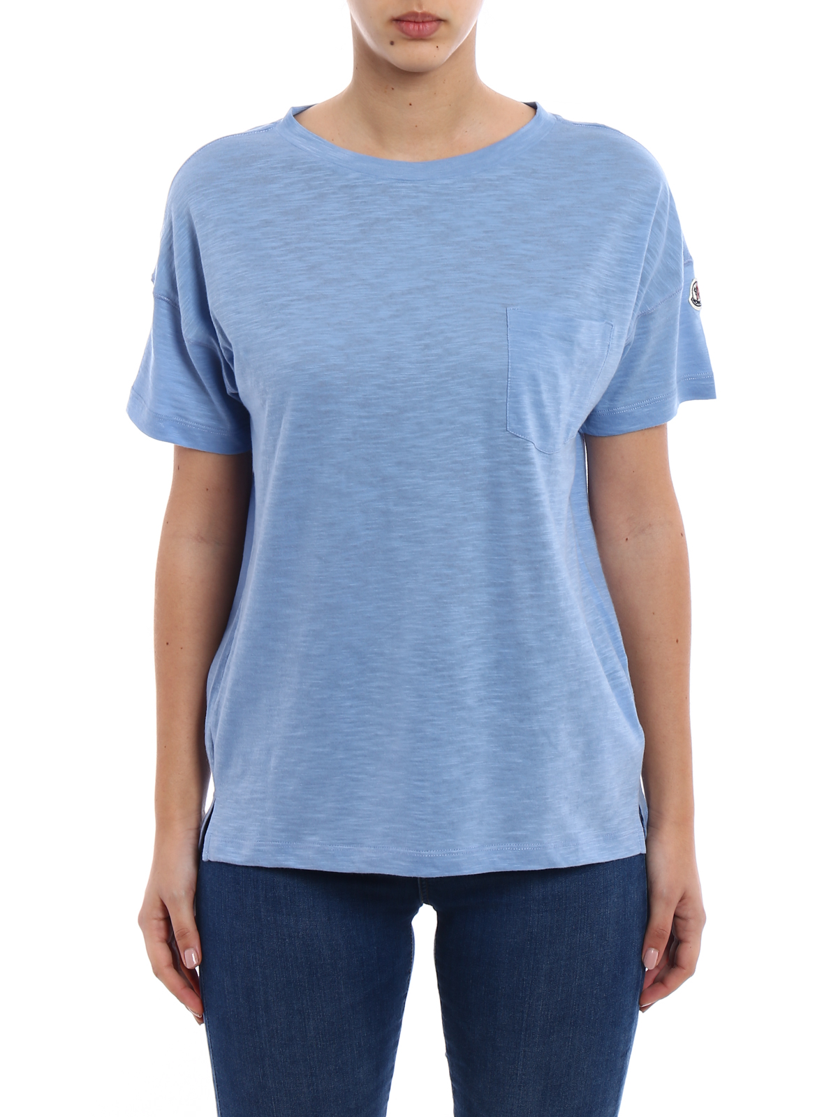 light blue moncler t shirt