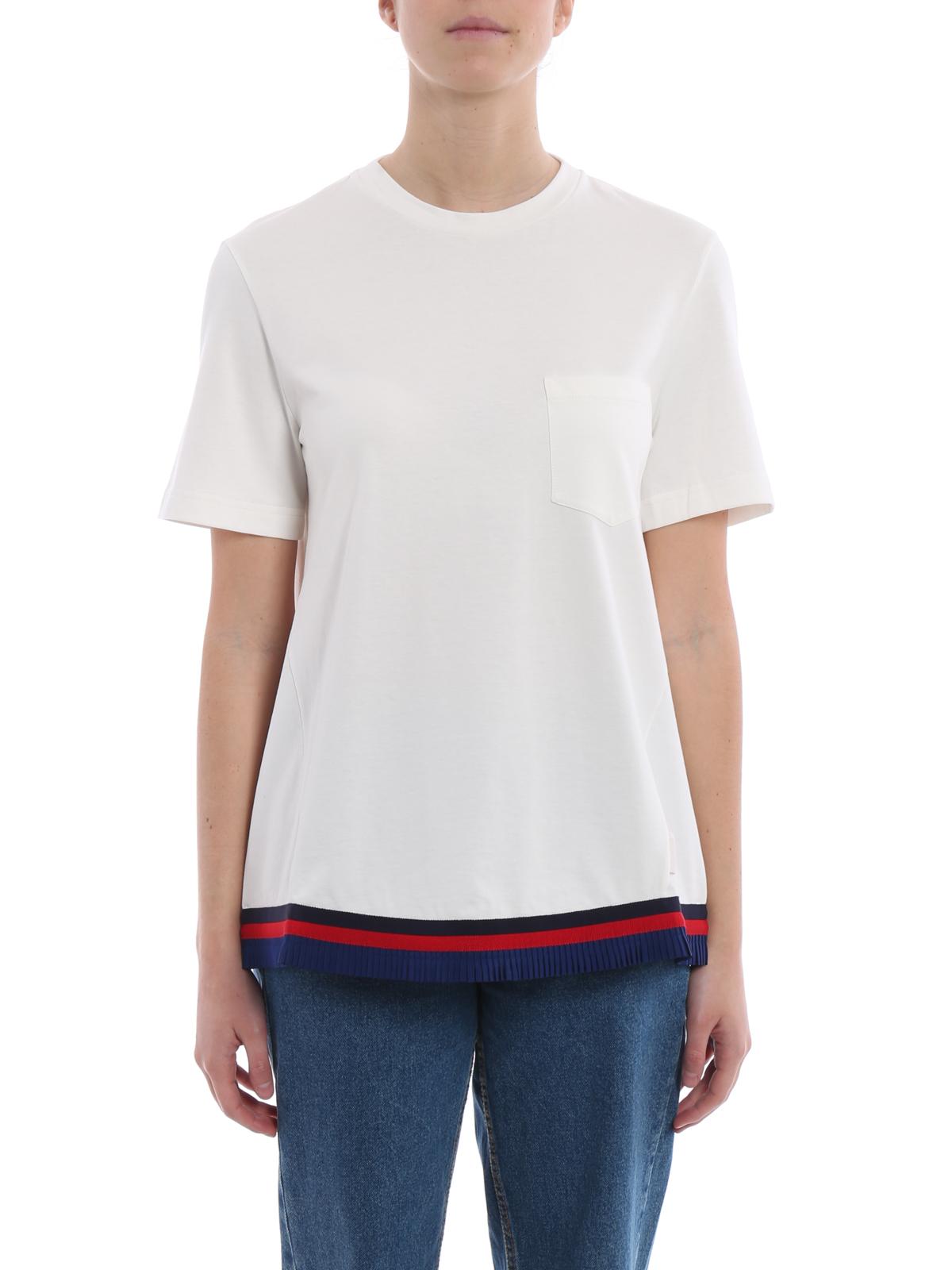 iKRIX MONCLER: t-shirts - Tricolour pleated hem white Tee