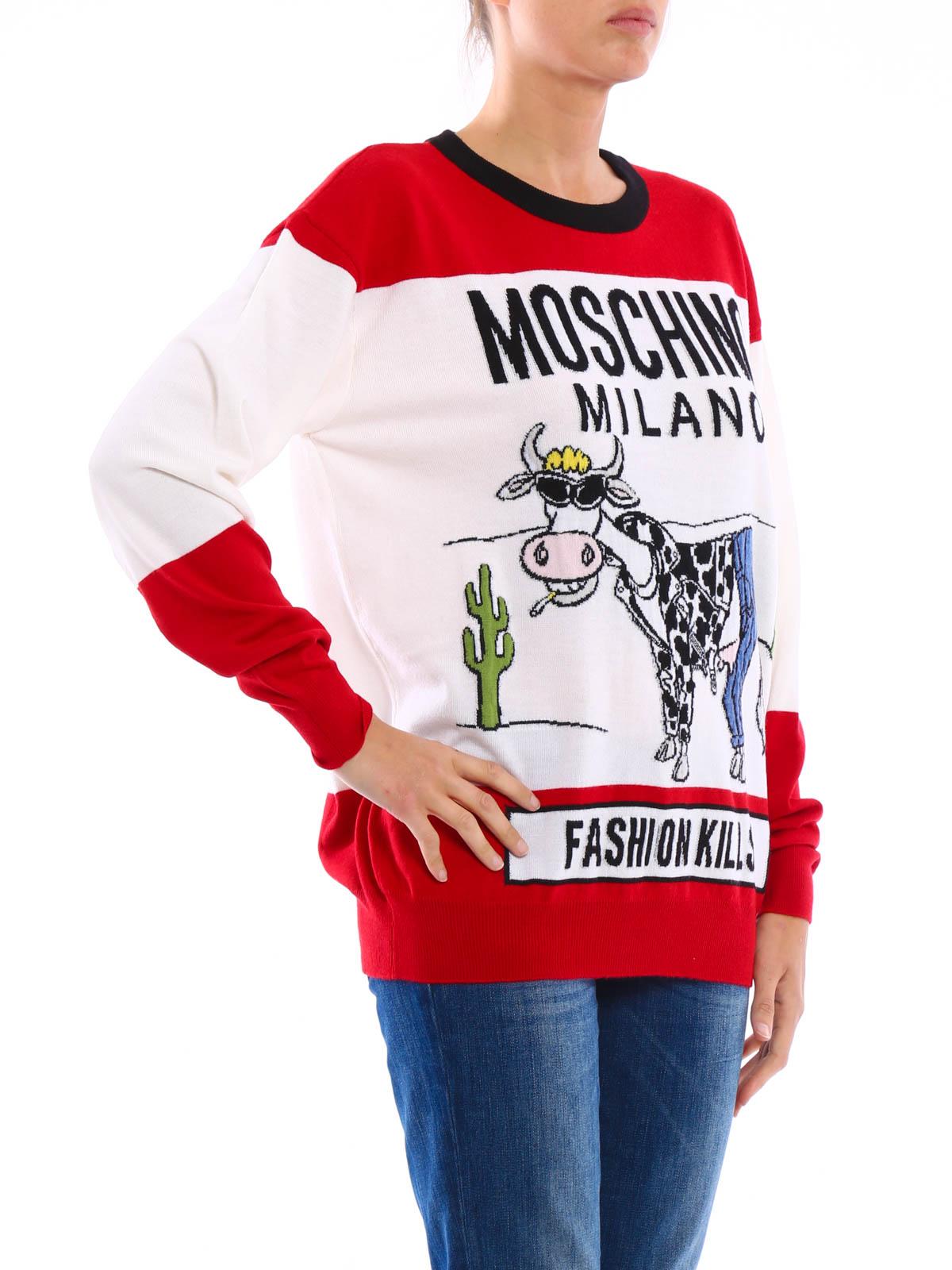 Collo Lana Maglia Moschino Vergine Couture In Ricamato Pullover qnfF018