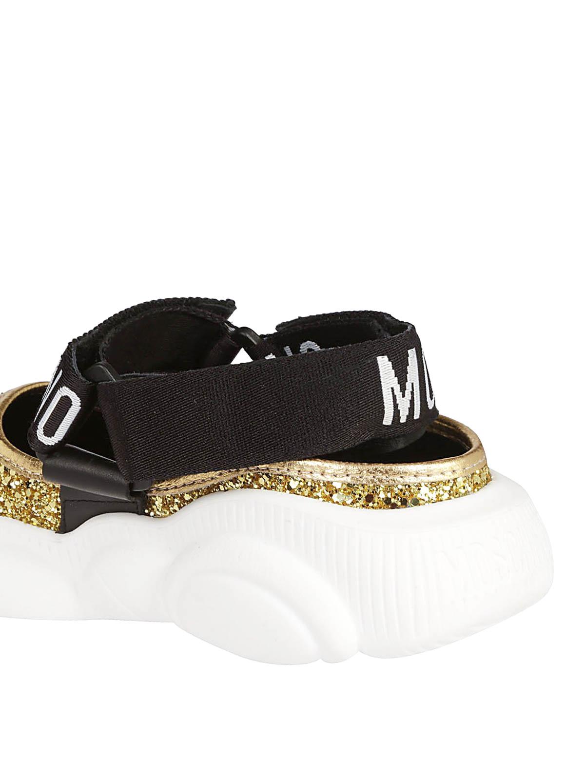 0b31f70e675c2 iKRIX MOSCHINO  sandals - Teddy Run glitter gold-tone sandals