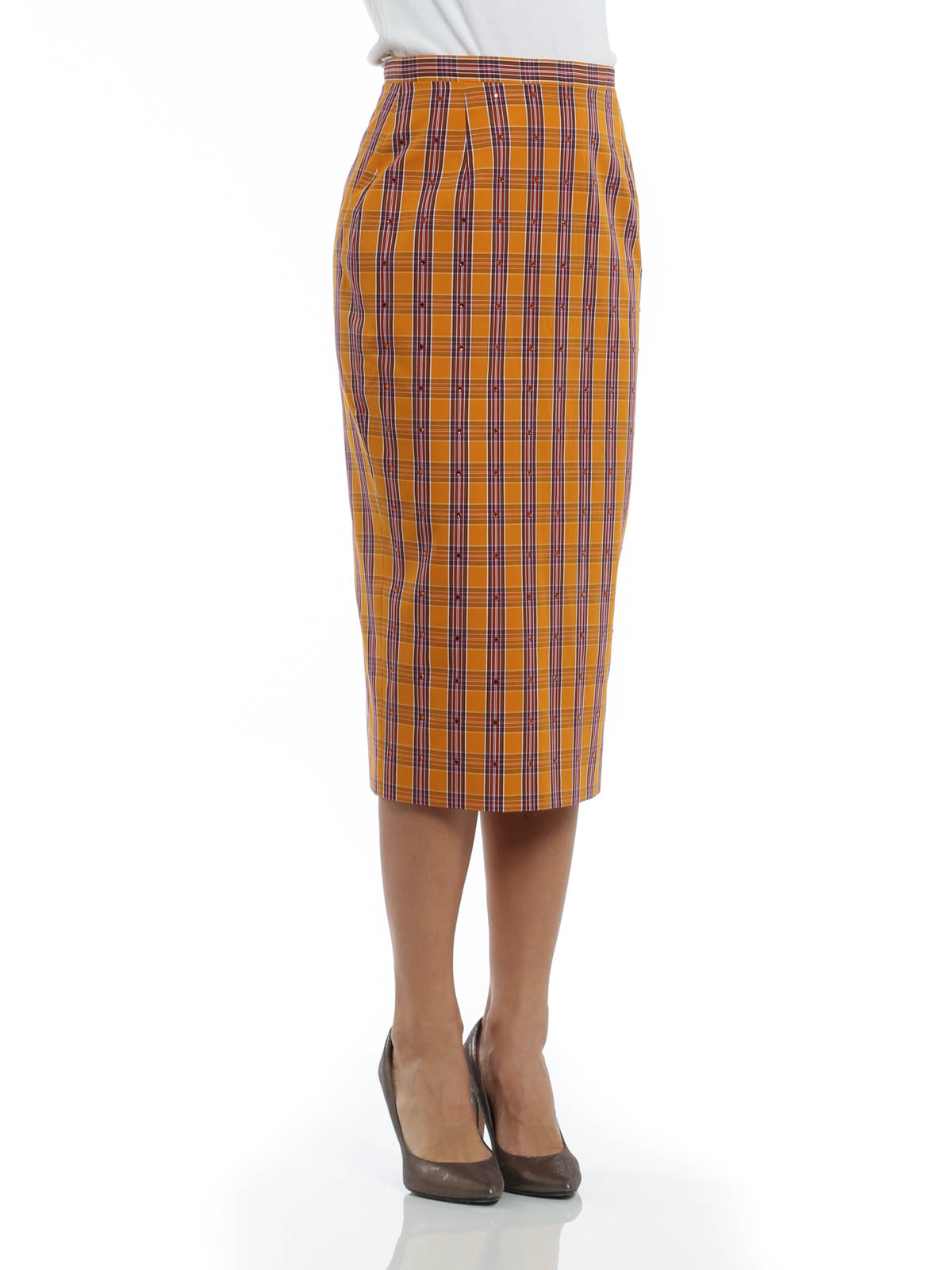 tartan pencil skirt by n 176 21 knee length skirts midi