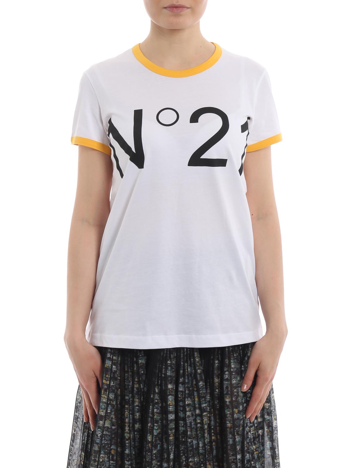 90a95625f N°21 - White cotton contrasting maxi logo T-shirt - t-shirts ...