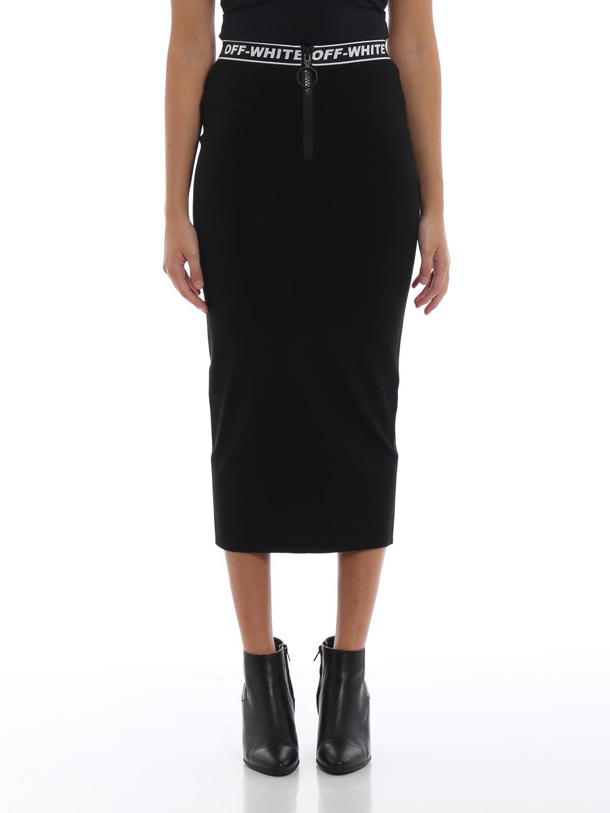 c499b22ac iKRIX OFF-WHITE: Knee length skirts & Midi - Diagonal simple pencil skirt