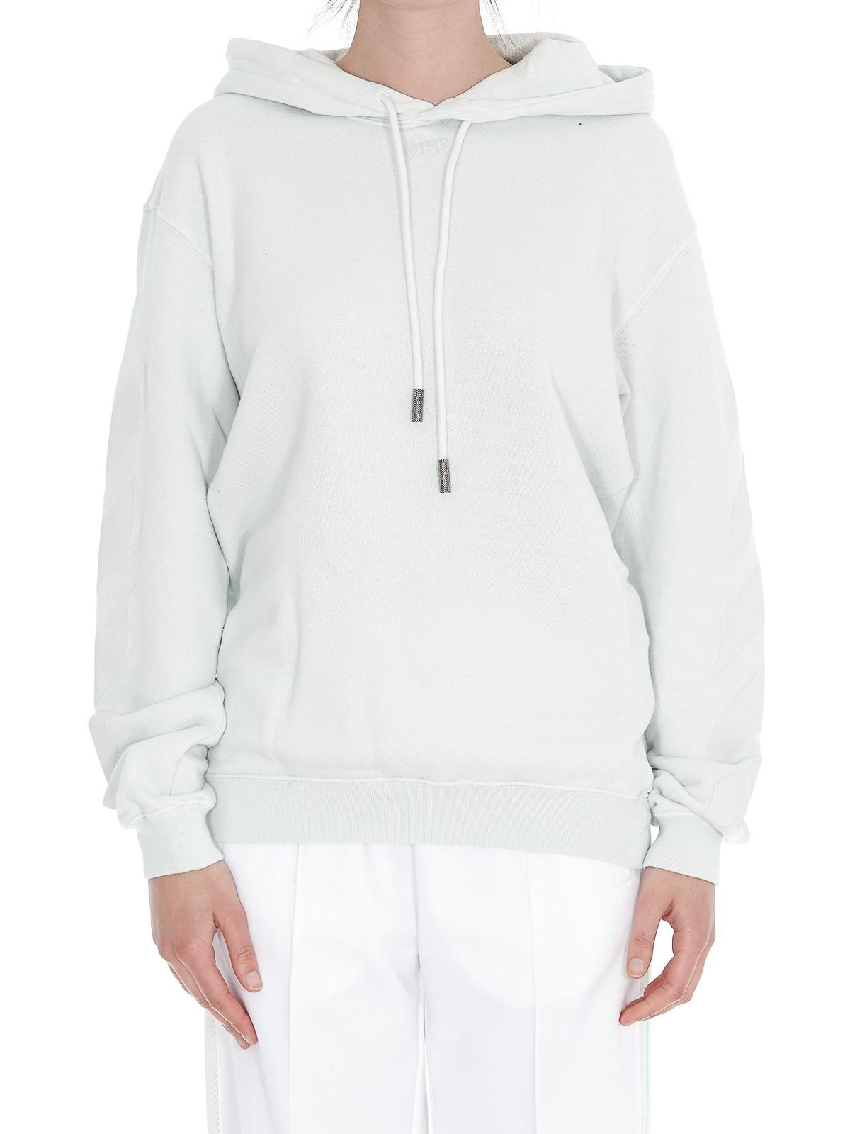 outlet 23377 4bd0e Off-White - Felpa con cappuccio in cotone bianco - Felpe e ...