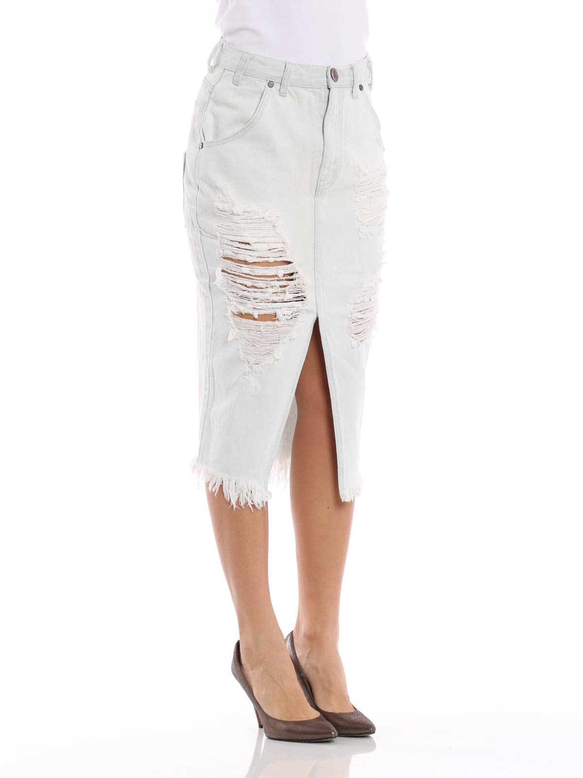 Le Creme denim skirt by One Teaspoon - Knee length skirts & Midi ...