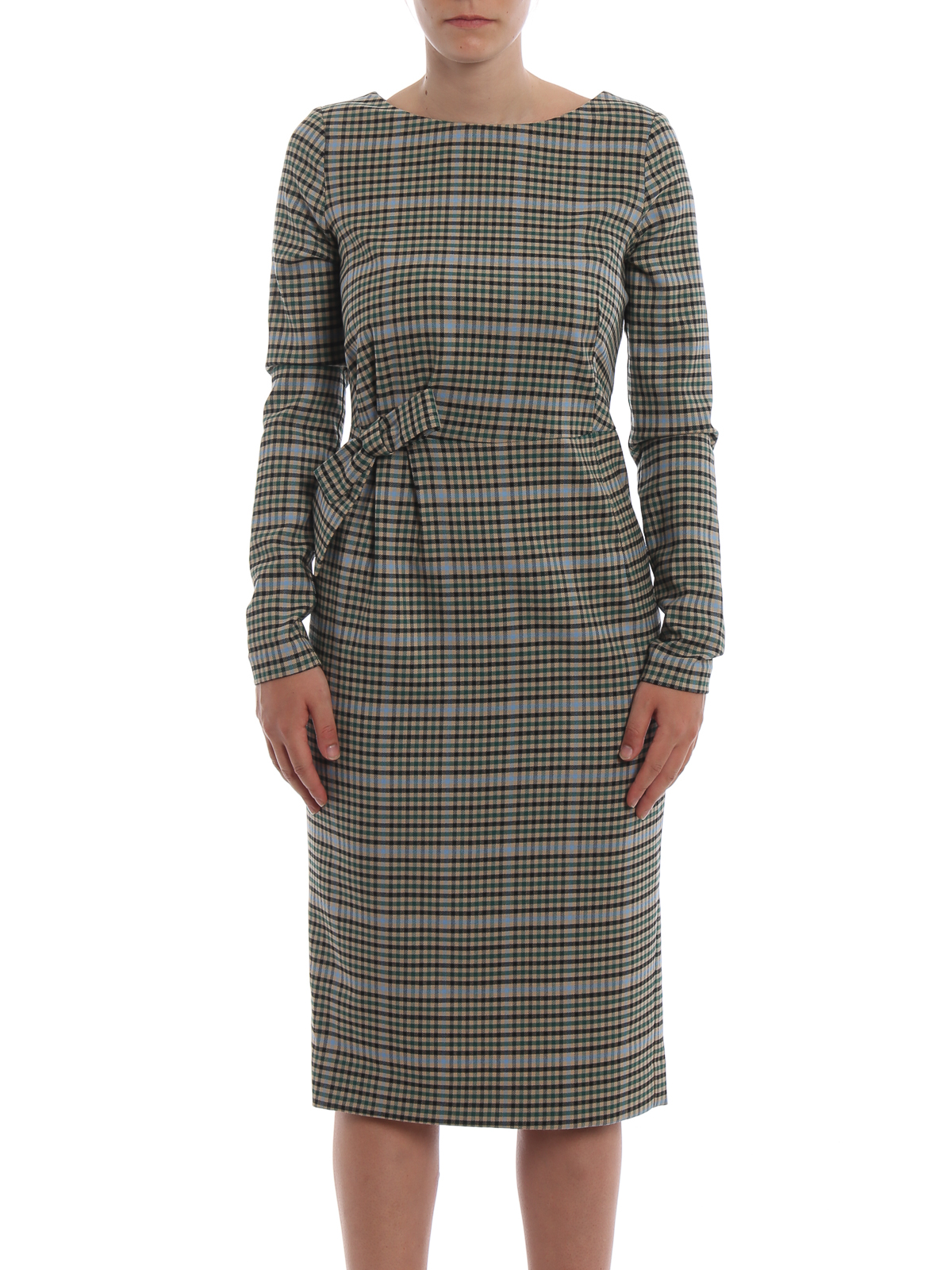 Loquadro Sleeve o Dress Long Check s Wool r Knee h a P Midi RwzqCXC