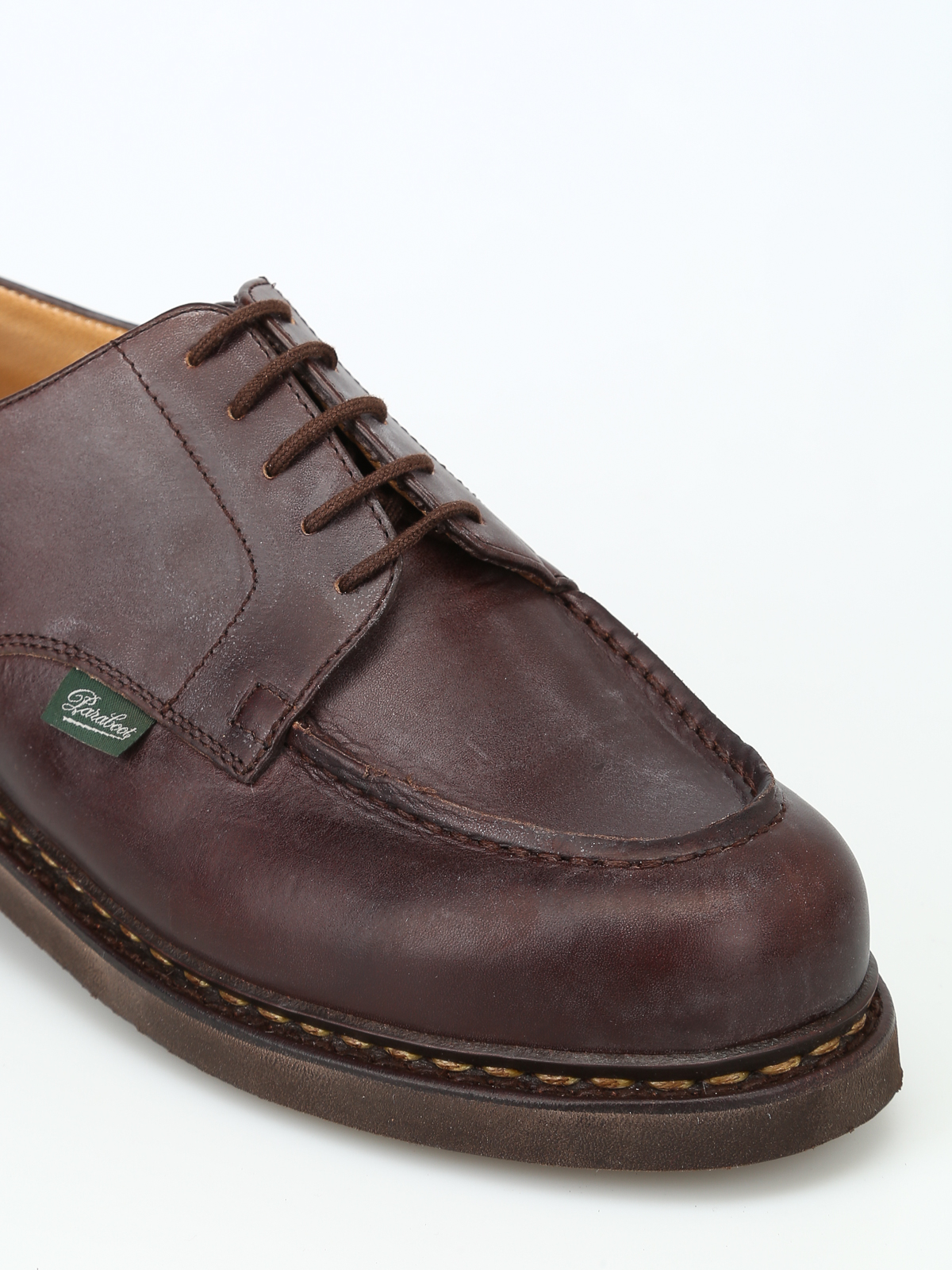 Paraboot - Chambord vintage leather lace-up shoes - lace ...