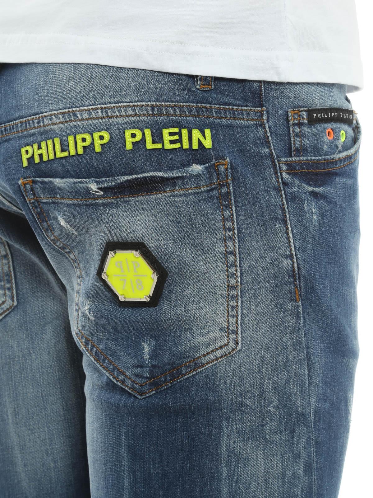 jeans dettaglio fluo philipp plein jeans dritti a. Black Bedroom Furniture Sets. Home Design Ideas