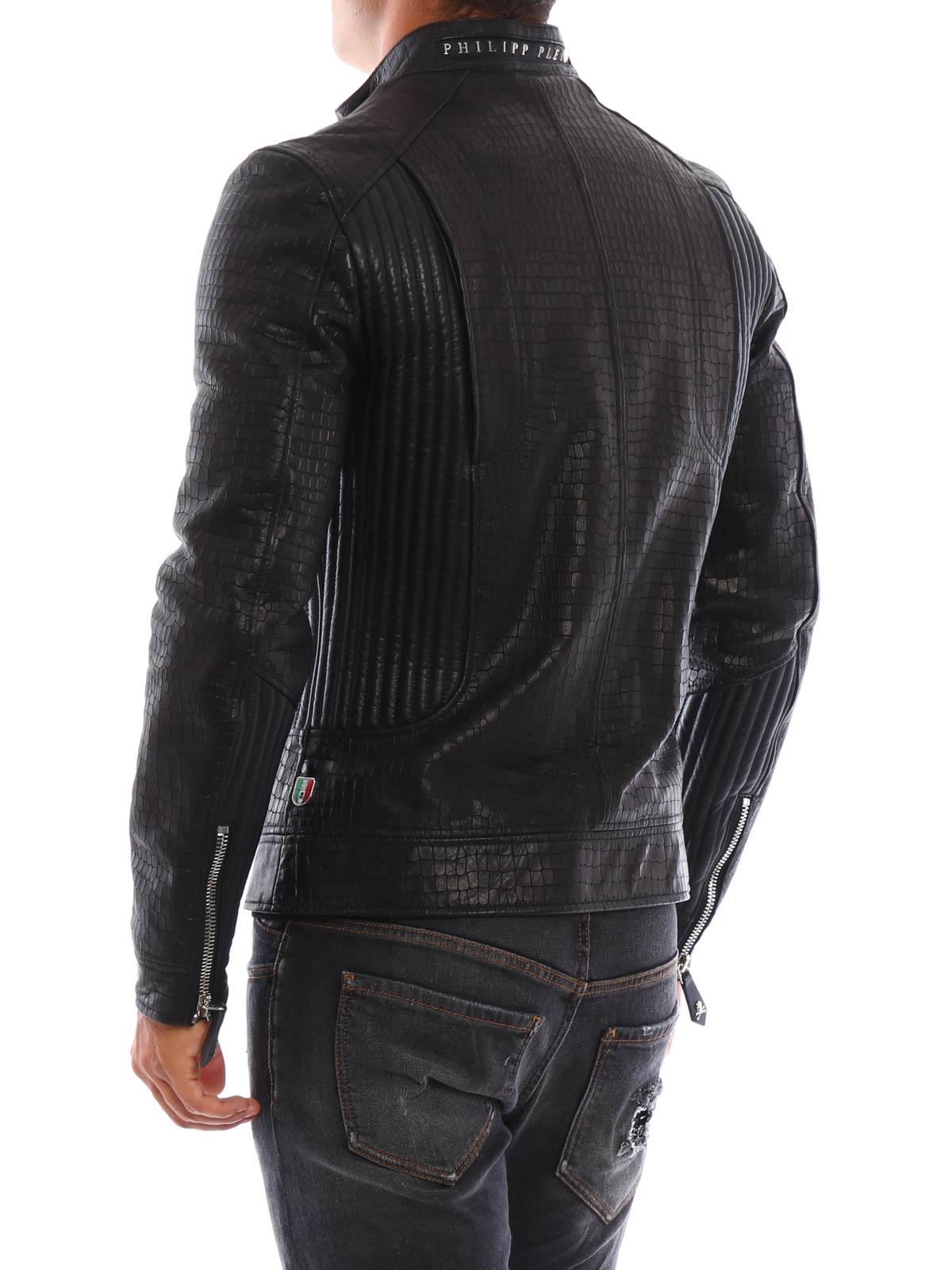 logo printed leather jacket - Black Philipp Plein Clearance Sneakernews p4B4n9am