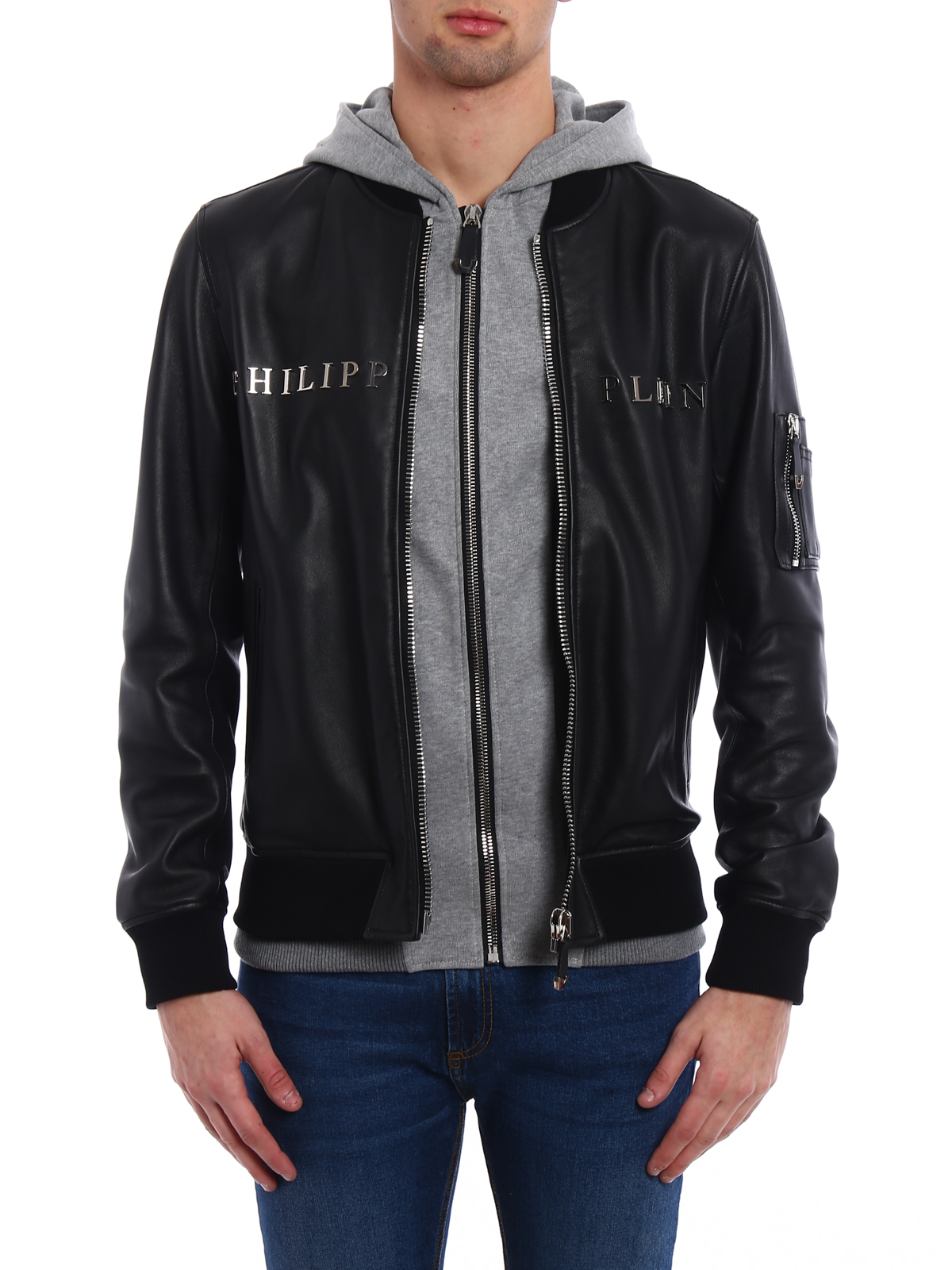 8be6f568d1 iKRIX PHILIPP PLEIN: leather jacket - Urban double front leather jacket