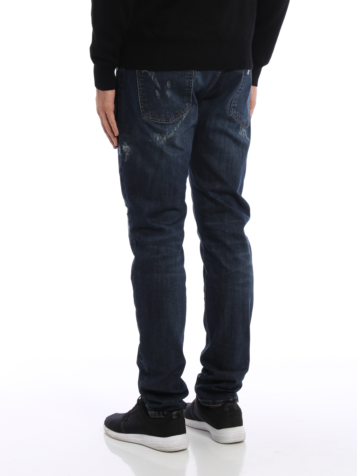 philipp plein akio used effect straight leg jeans straight leg jeans mdt029614da. Black Bedroom Furniture Sets. Home Design Ideas
