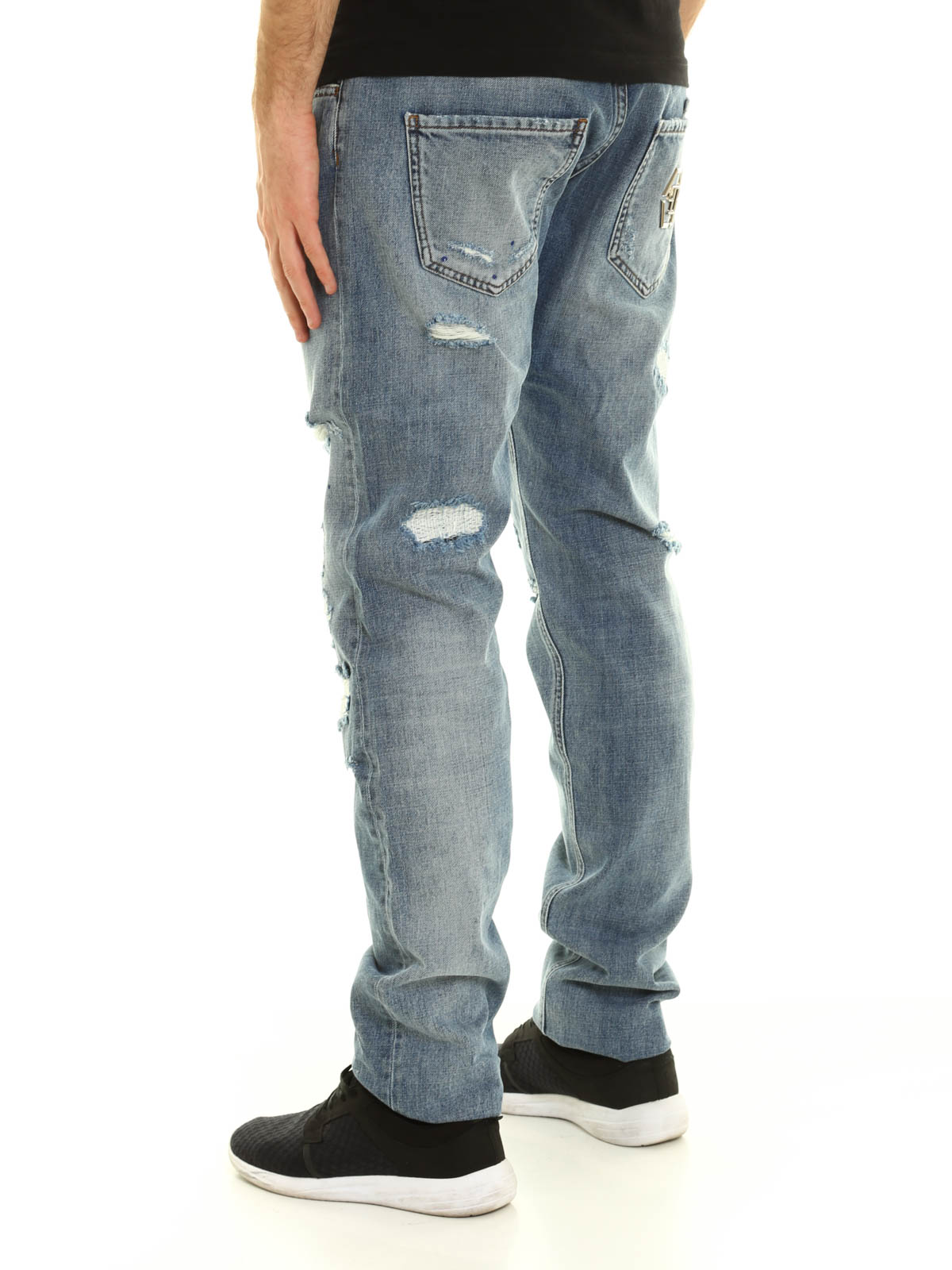 philipp plein rainbow denim jeans straight leg jeans mdt0062pde007n31wa. Black Bedroom Furniture Sets. Home Design Ideas