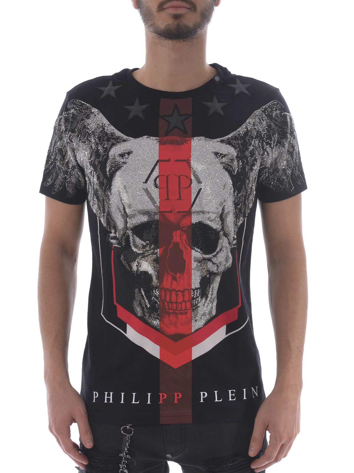 philipp plein church 39 s black t shirt t shirts mtk1896pjy002n0213