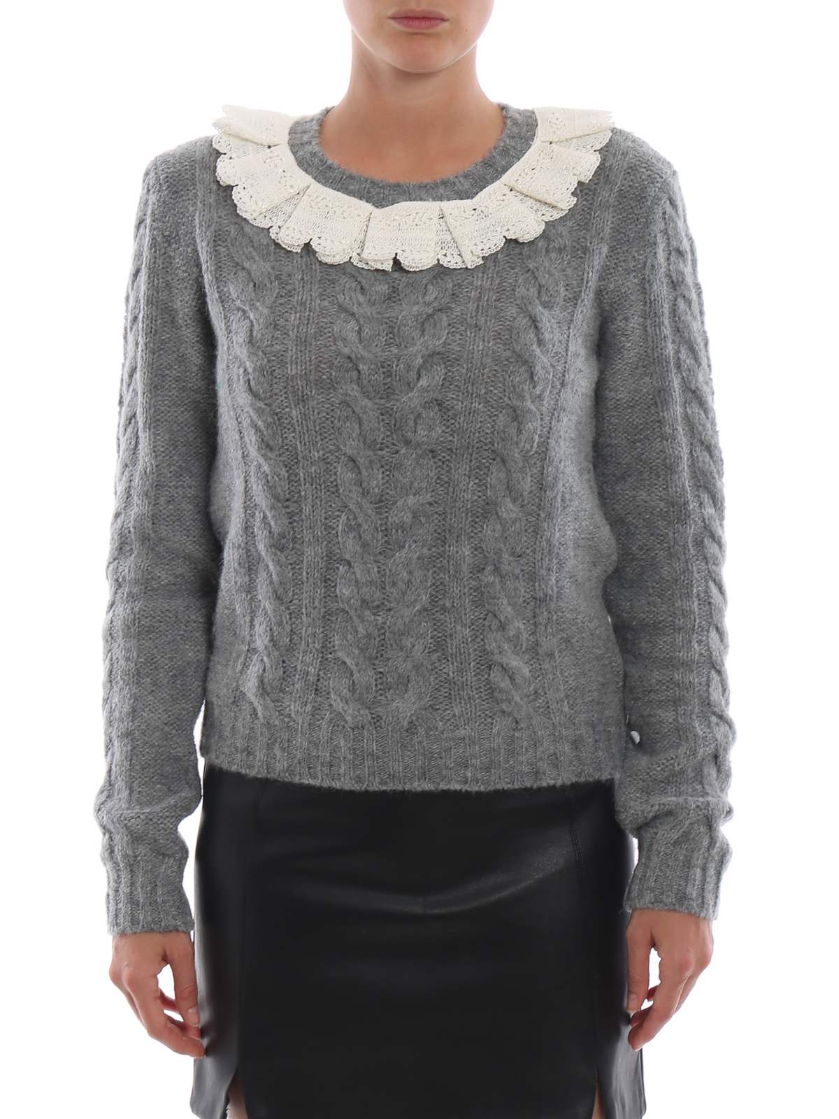 13a1a45fdf46a4 iKRIX Philosophy di Lorenzo Serafini: crew necks - Lace embellished cable  knit crew neck sweater