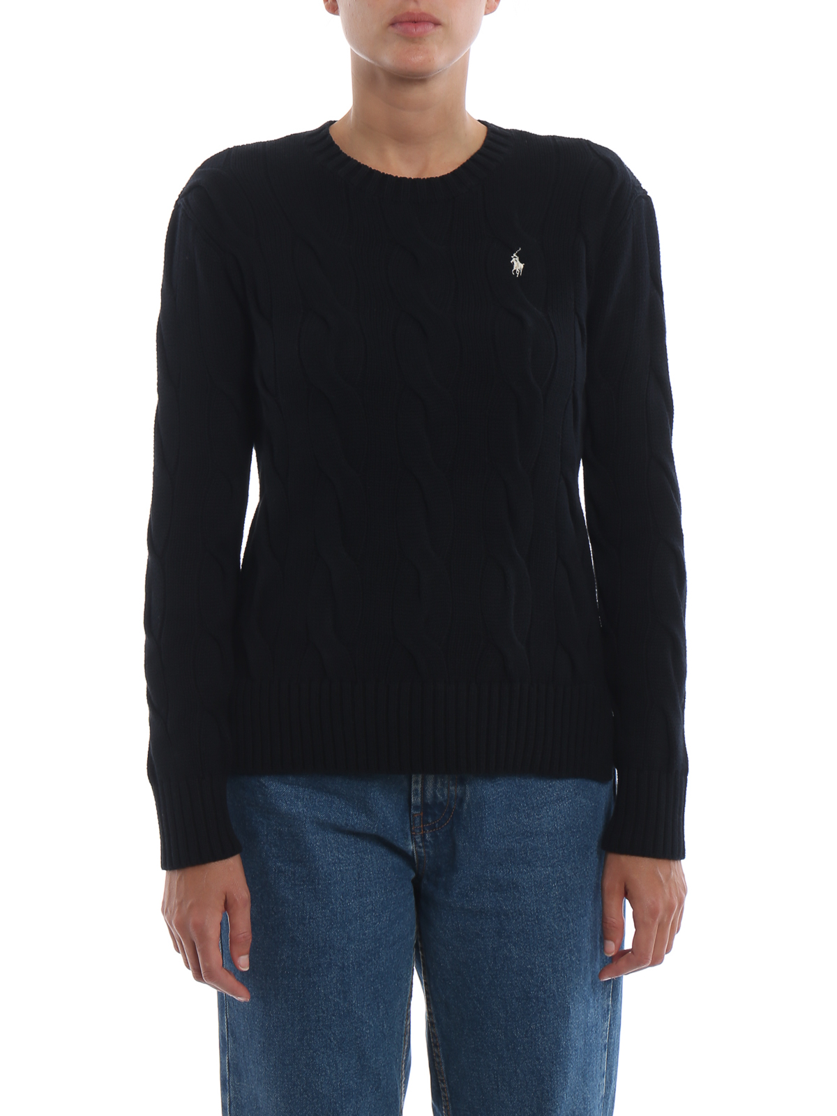 958c743f1fac iKRIX POLO RALPH LAUREN  crew necks - Cable knit faded black cotton sweater