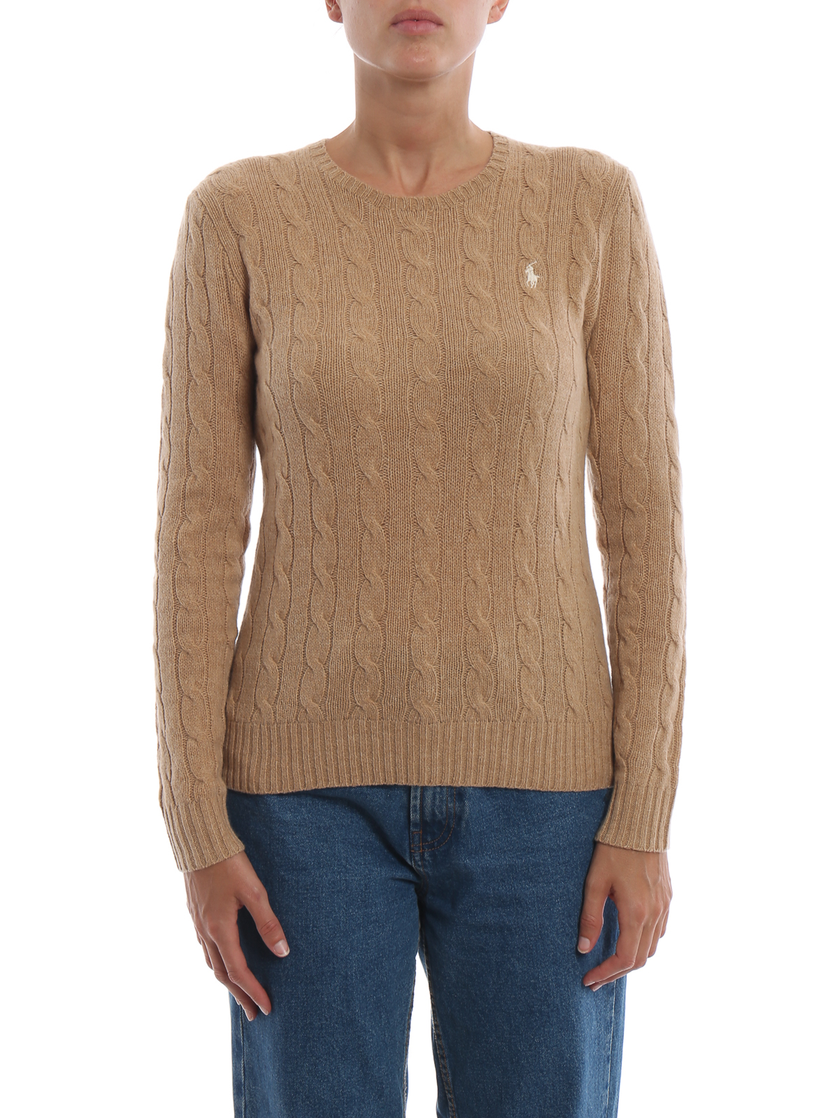 5a2e75b05 iKRIX POLO RALPH LAUREN  crew necks - Camel cable knit merino and cashmere  sweater