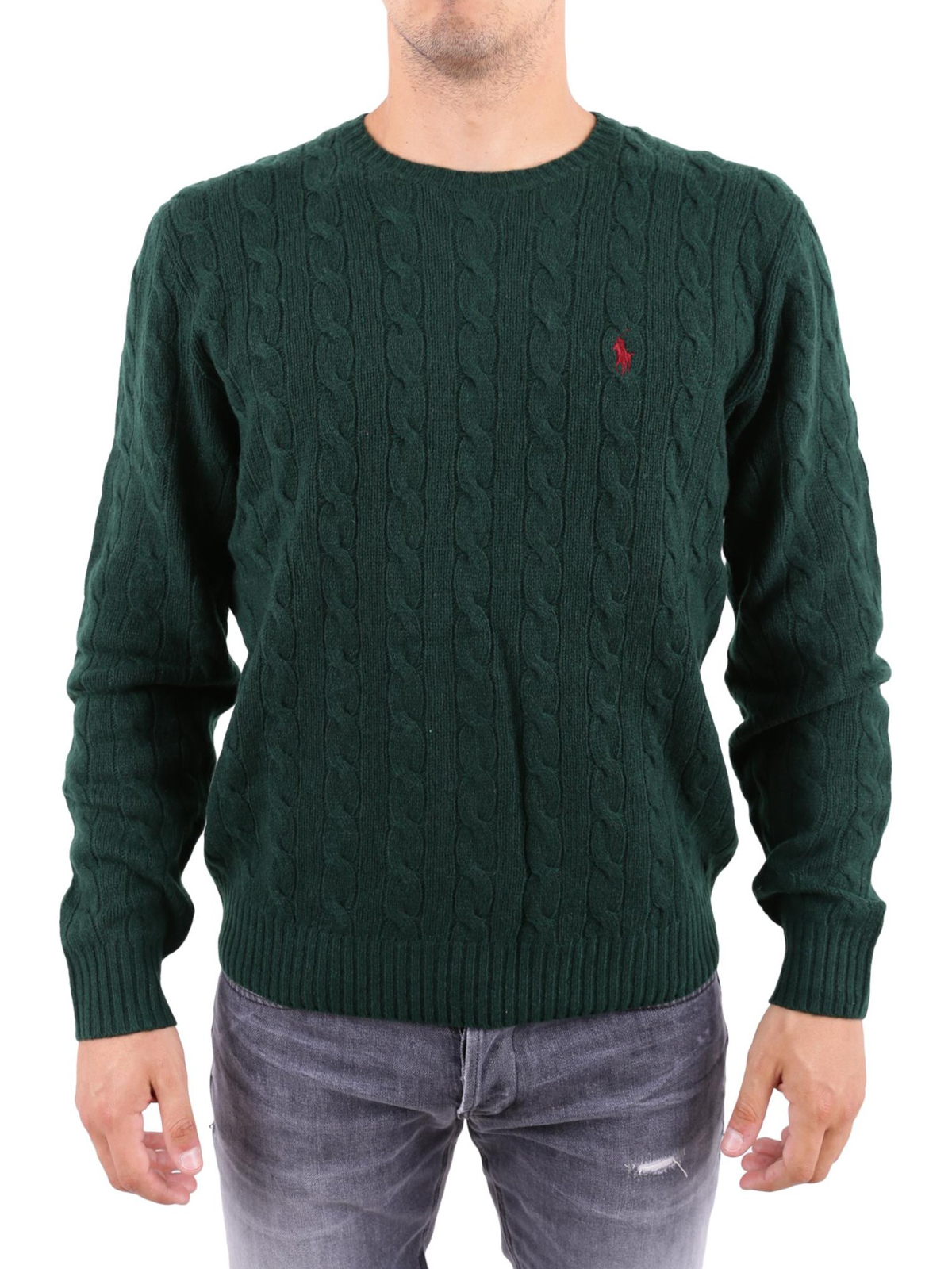 083497180 iKRIX POLO RALPH LAUREN  crew necks - Green cable knit wool and cashmere  sweater
