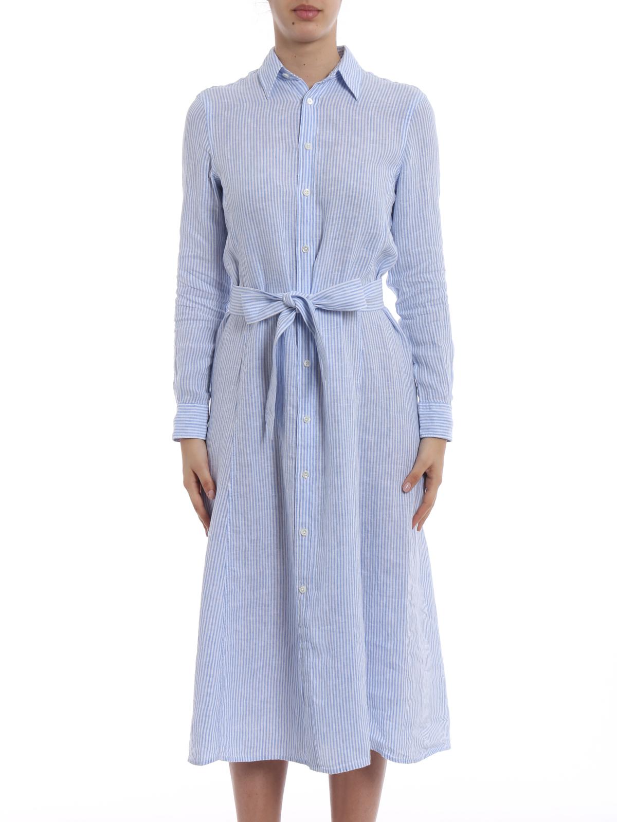 5c754454be7c2 iKRIX POLO RALPH LAUREN  maxi dresses - Striped linen belted shirt dress
