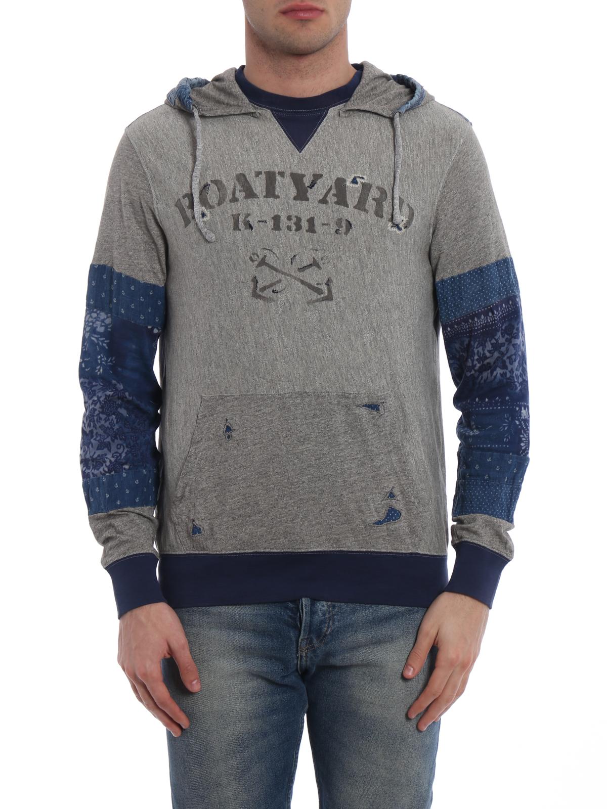 iKRIX POLO RALPH LAUREN: Sweatshirts \u0026 Sweaters - Rips detailed patchwork  hoodie