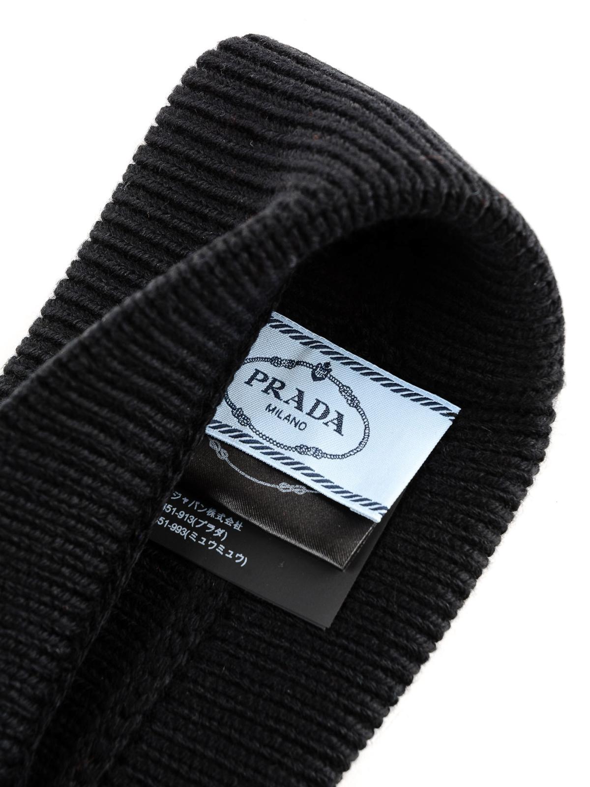 d76f37126fc Prada - Black logo patch wool beanie - beanies - 27379.MPG 002 ...