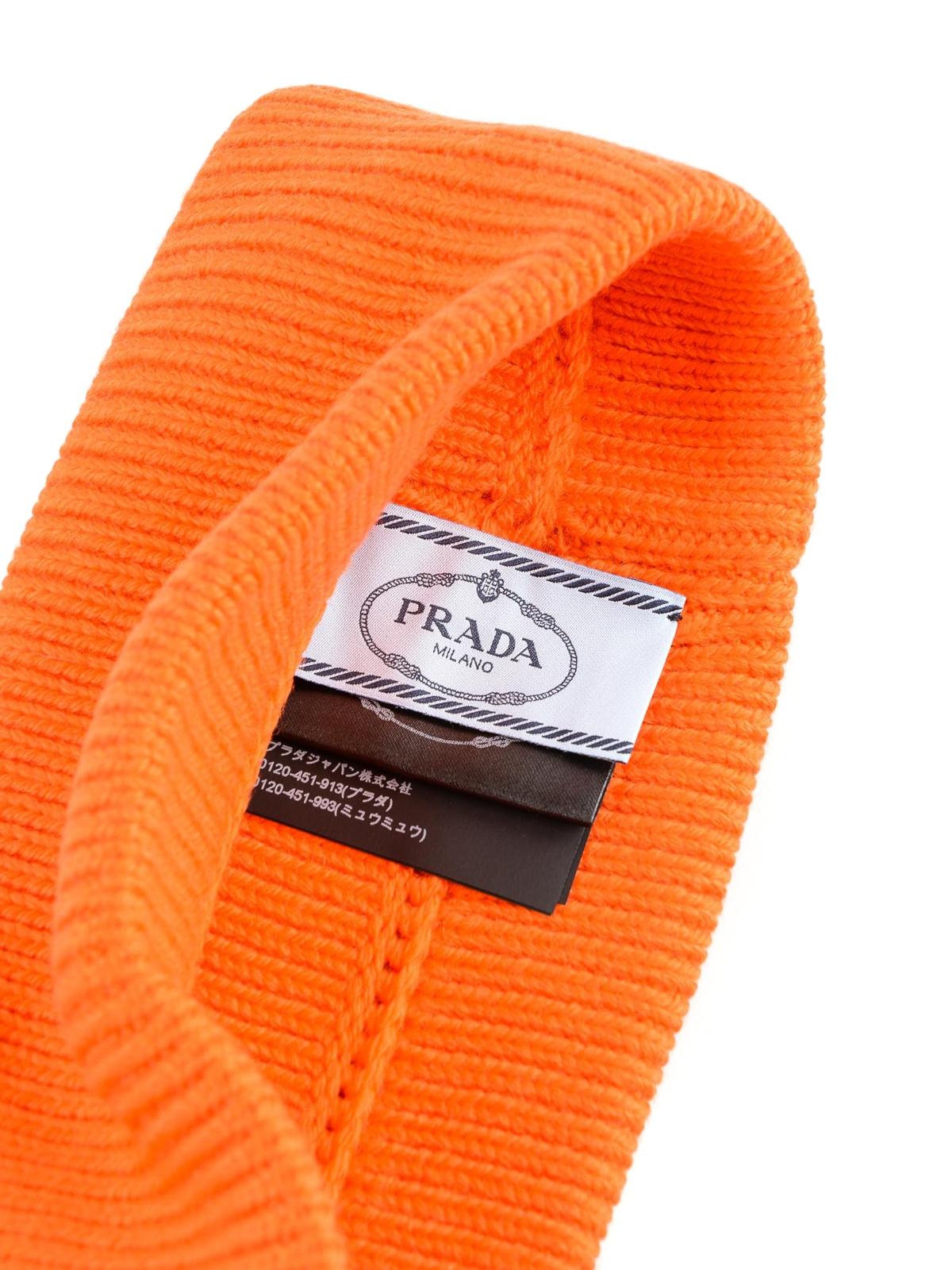 571fe8d25f8 Prada - Orange logo patch wool beanie - beanies - 27379.MPG 049