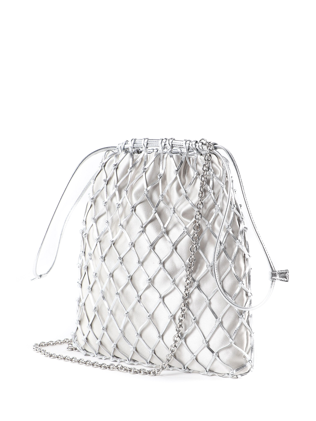446af518d67d Prada - Silver leather mesh and satin bag - Bucket bags - 1BC075AR2 118