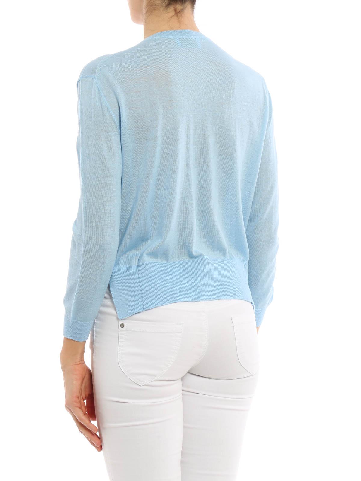 Prada - Cárdigans Azul Claro Para Mujer - Cárdigans - 125737 1HTE F0360 49bc9836e78f