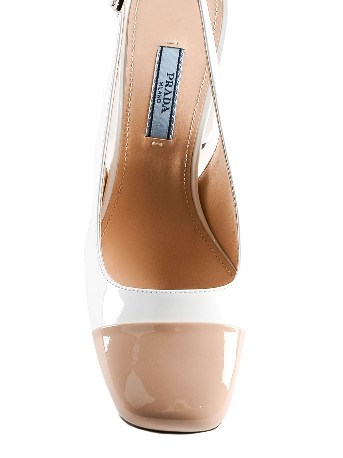 3436342eb iKRIX PRADA: court shoes - Patent leather two-tone slingback pump