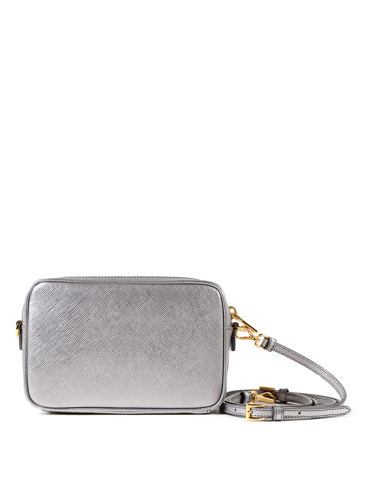 96685cf8d7fec2 iKRIX PRADA: cross body bags - Silver saffiano leather crossbody