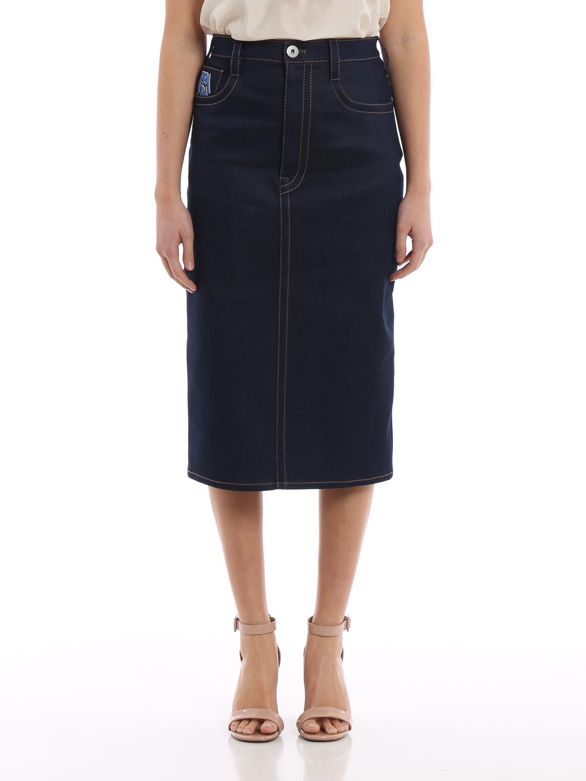 318cab586 iKRIX PRADA: Knee length skirts & Midi - Stretch denim pencil skirt