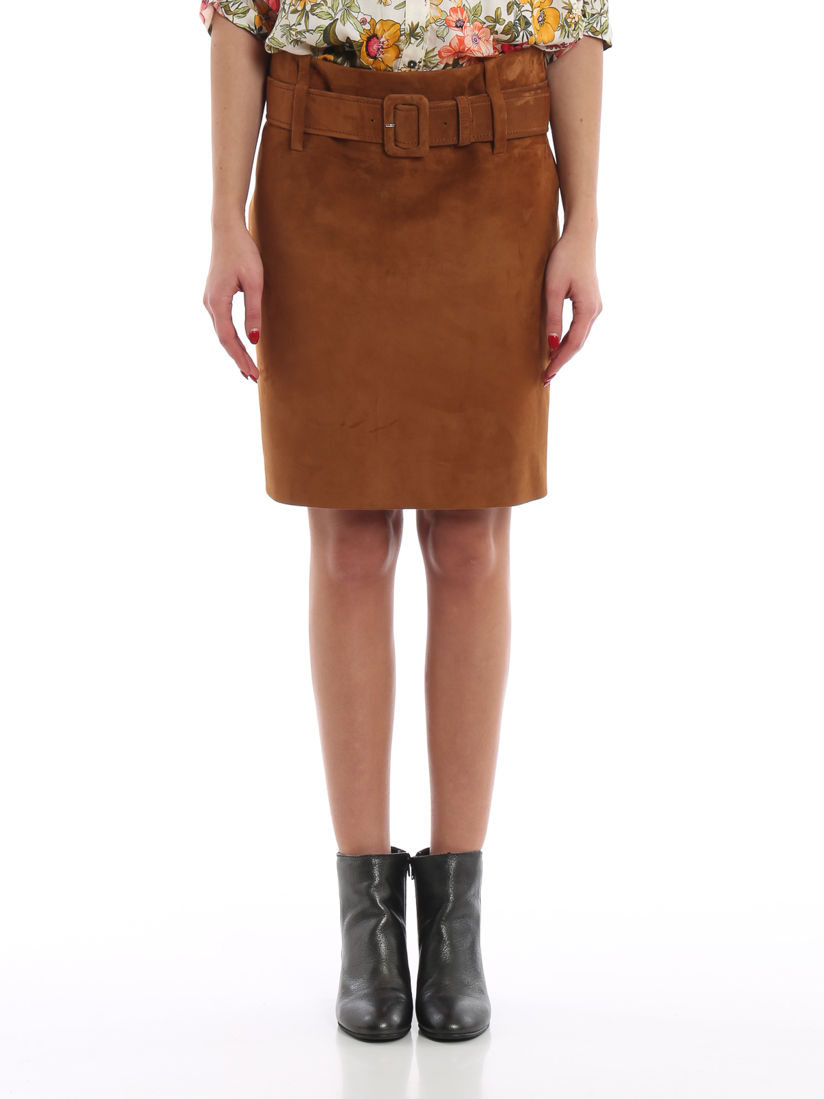 9b69a43d0b Prada - Soft suede pencil mini skirt - leather skirts - 51726 1FEK 050